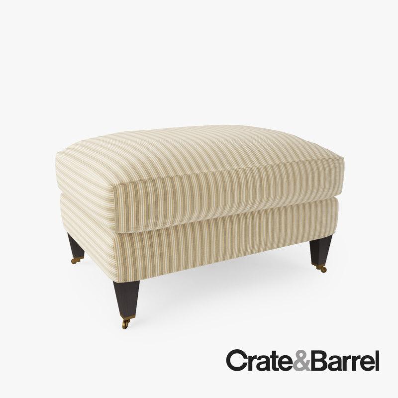 crate barrel essex ottoman 3d max. Black Bedroom Furniture Sets. Home Design Ideas