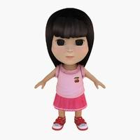 3d model skirt hair