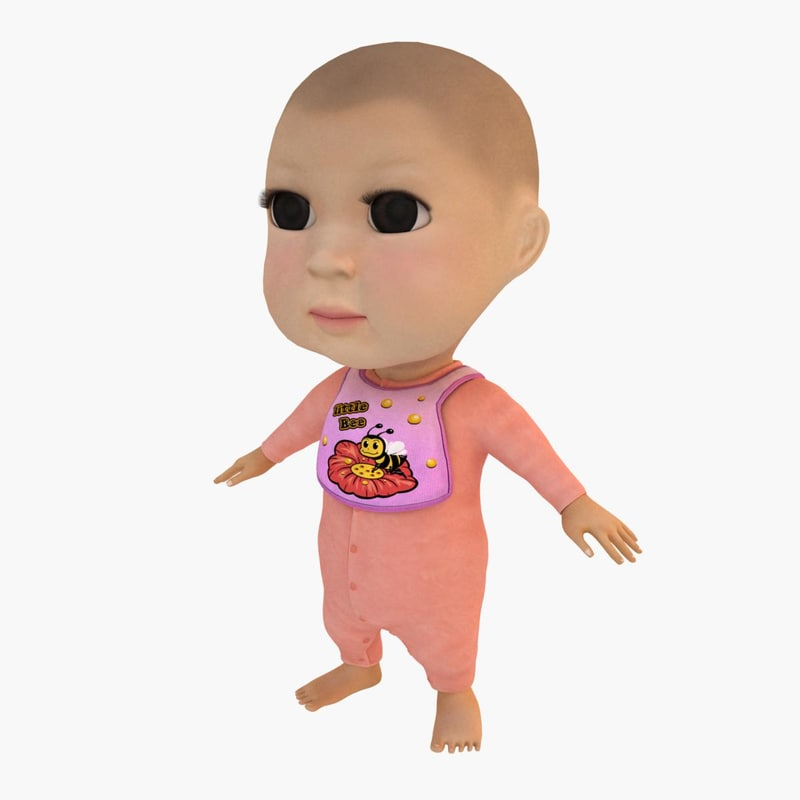 3d Baby Girl Cute Model