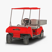 golf cart red rigged 3d max