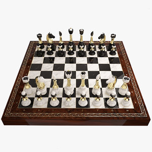 chess settings checked 3d model