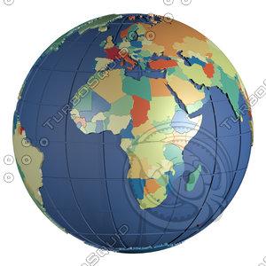 geopolitical globe 2016 political 3d model
