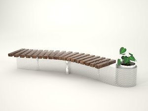 s-shape bench 3d model