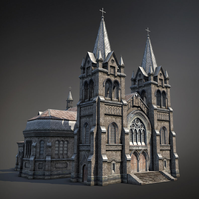 3d Gothic Cathedral Exteriors Model