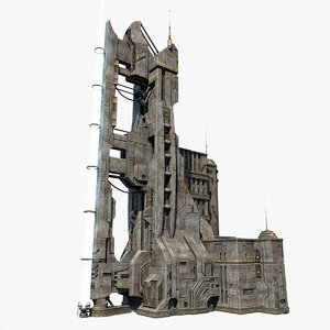 3d model of low-poly sci-fi tower
