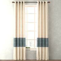 3d model curtains vintage canvas stripe