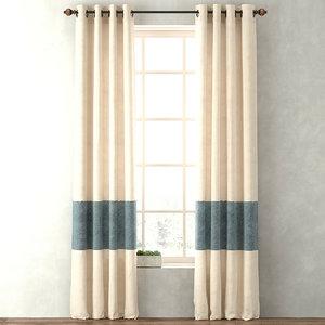 3d model curtains vintage canvas stripe