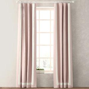 curtains appliqued frame cotton 3d max