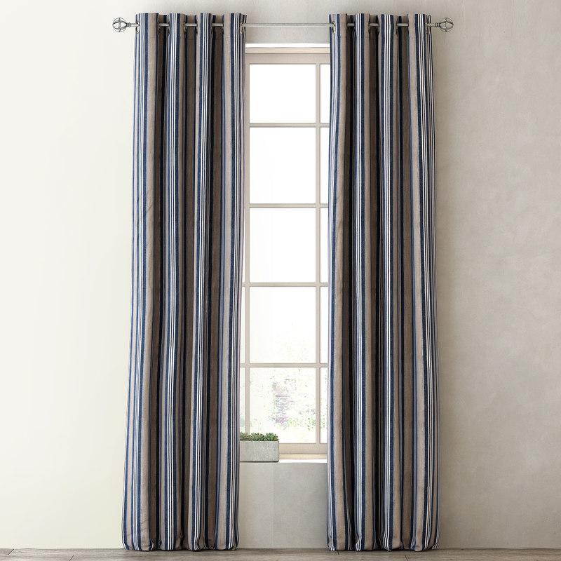 3d model curtains tailored stripe drapery