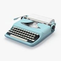 3d vintage typewriter model