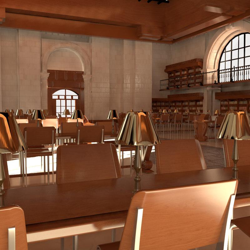 3d model library interior 1