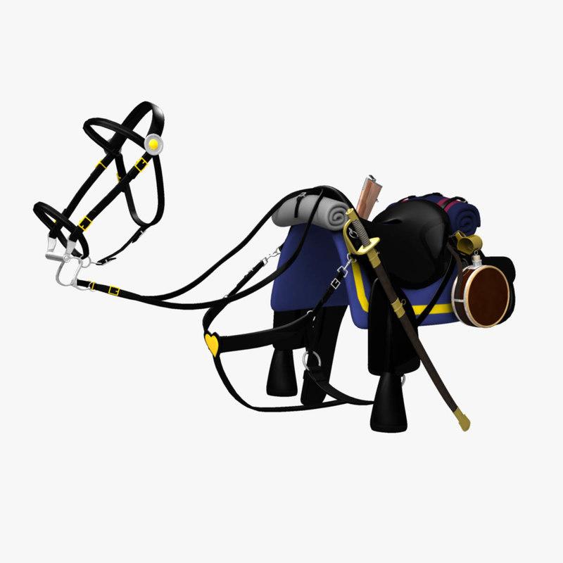 civil war saddle bridle 3d model