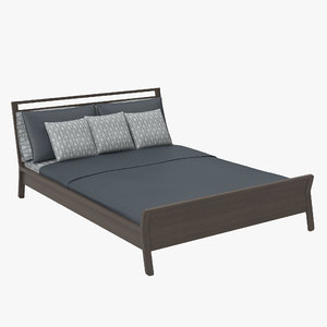 3d woodrow queen bed frame model