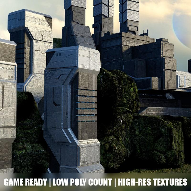 sci-fi building structures obj