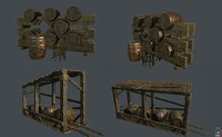 3d model stands casks