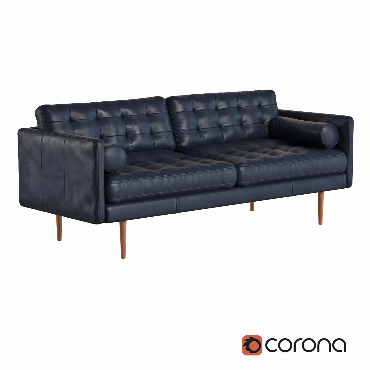 West Elm Monroe Mid Century Leather Sofa