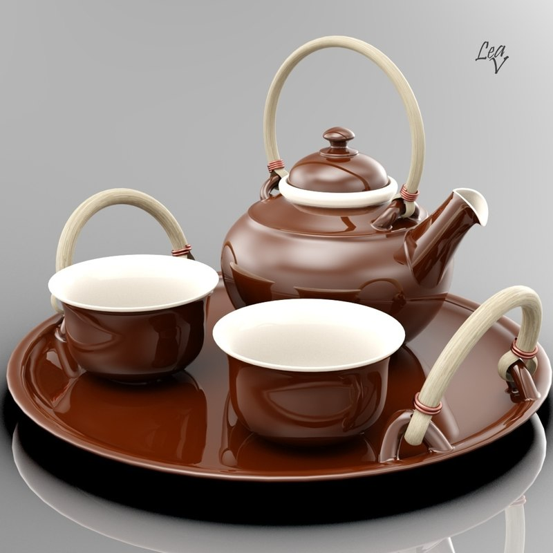 ceramic tea set 3d model