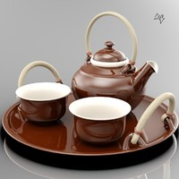 ceramic tea set 3d model