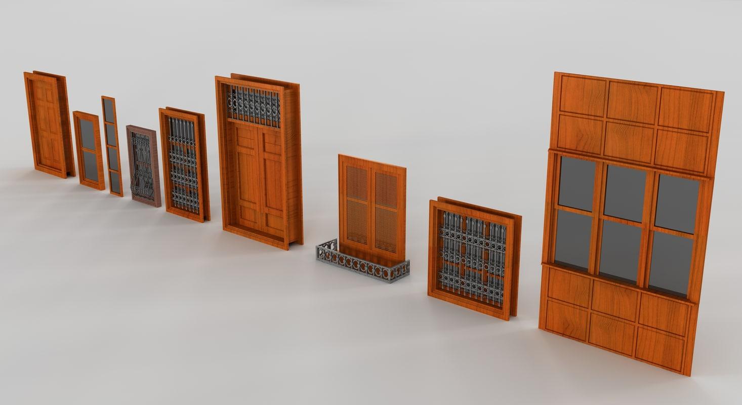 3d windows doors model