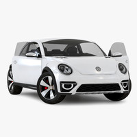 volkswagen beetle 2016 white 3d model