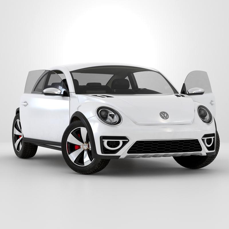 volkswagen beetle 2016 white 3d model