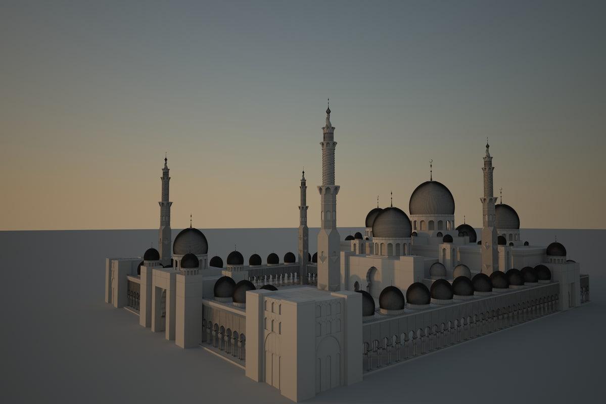 zayed mosque abu dhabi 3d model