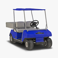 3d golf cart blue