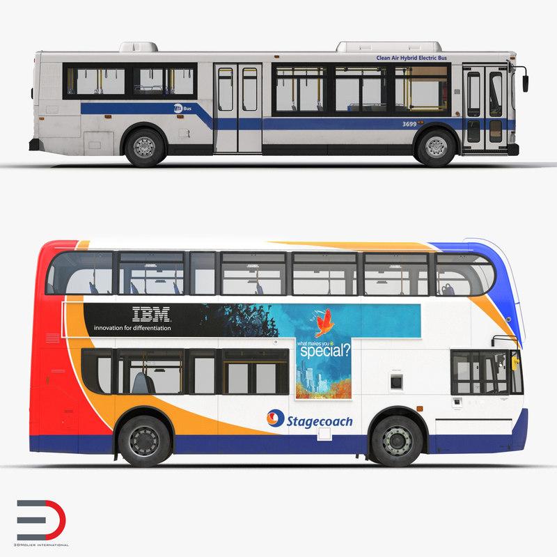 buses 3 mta city bus 3d model