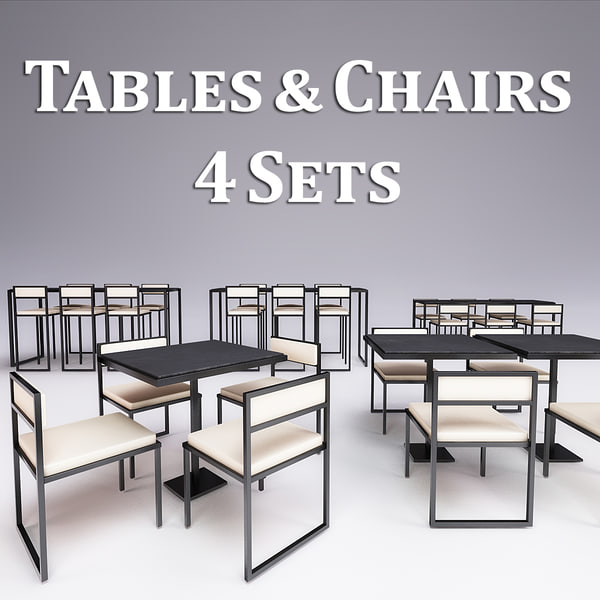 metal tables chairs 4 3d model