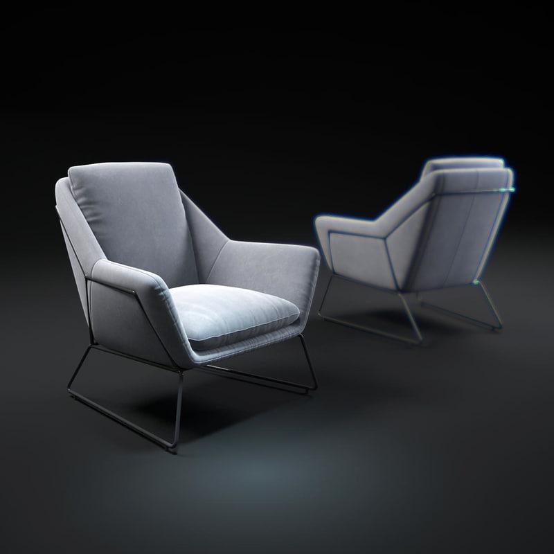 scandinavian-chair-grey-retro-amadeus 3d model