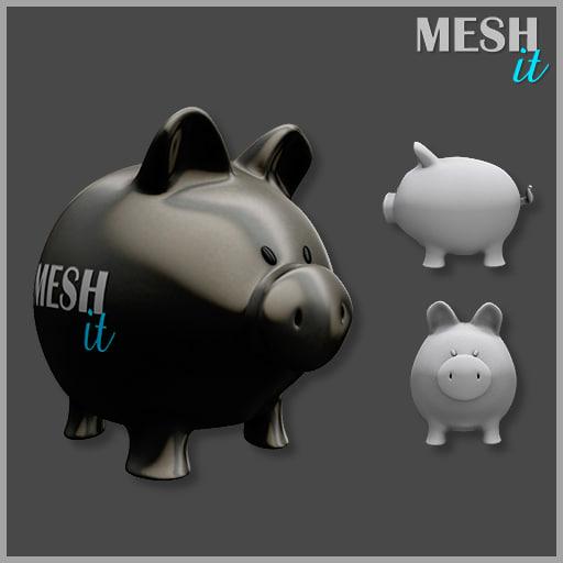 3d model piggy bank pig