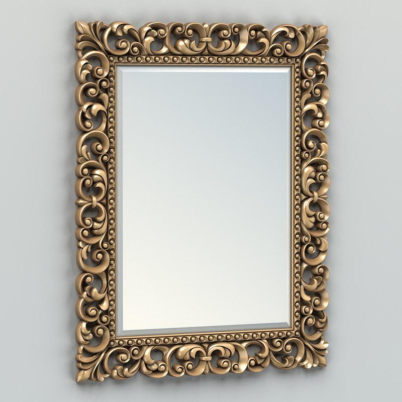 3d carved rectangle mirror frame