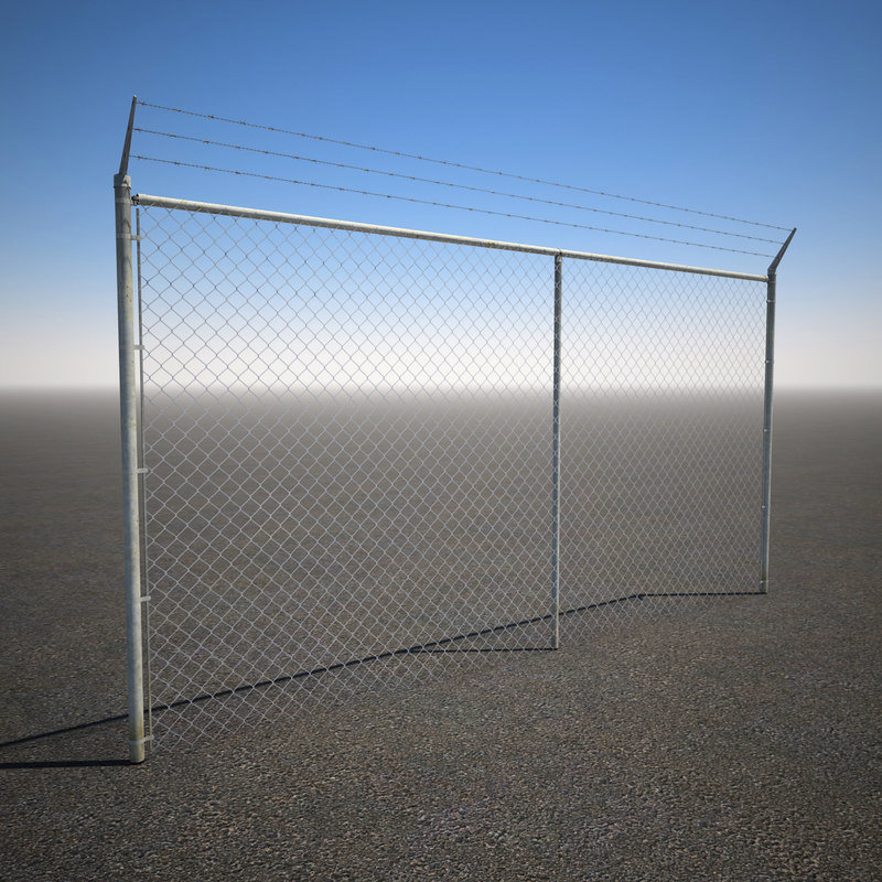 tall barbed wire chain link 3d model