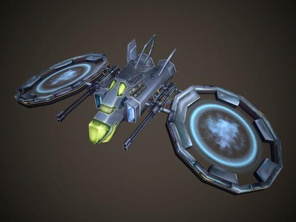 3d starship handpainted model