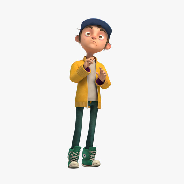 3d rigged cartoon boy character model