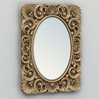 3d model of carved rectangle mirror frame