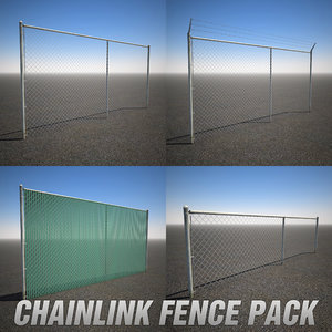pack chainlink fence 3d model