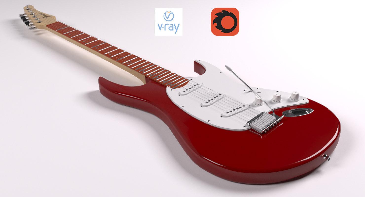 3d model of fender guitar