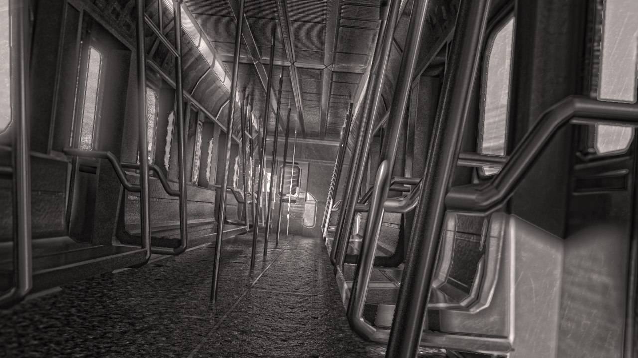 subway train interior 3d model