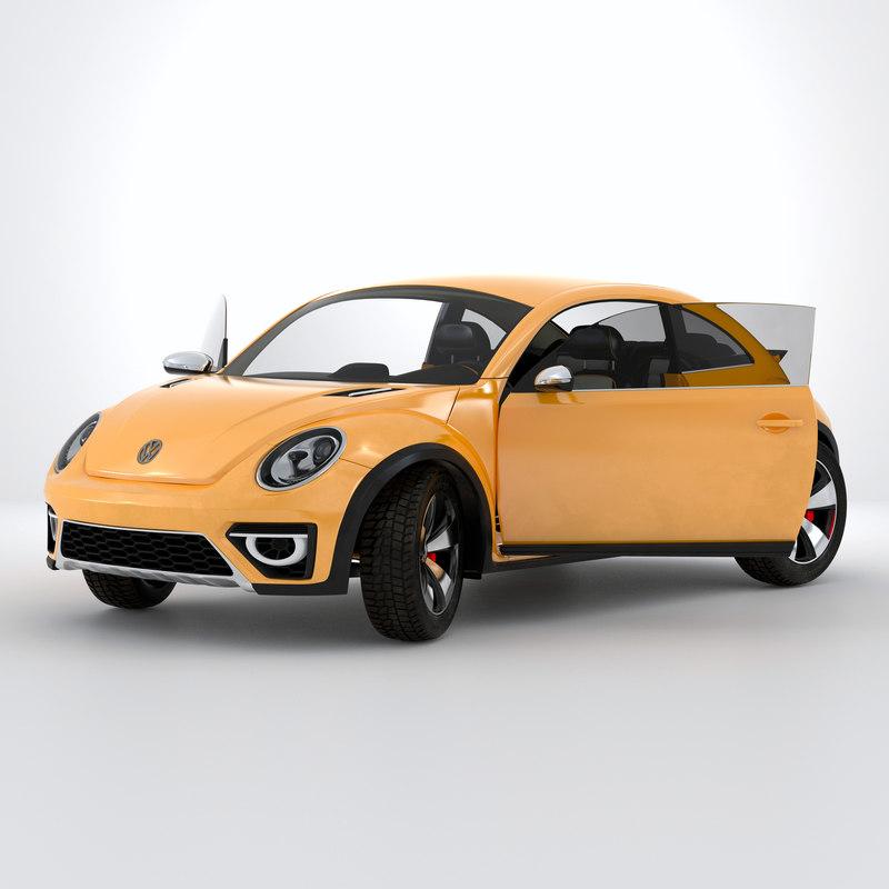 3d model volkswagen beetle 2016 yellow