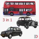 3d london bus taxi vehicle