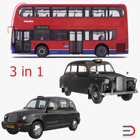 London Bus and Taxi Vehicle Set