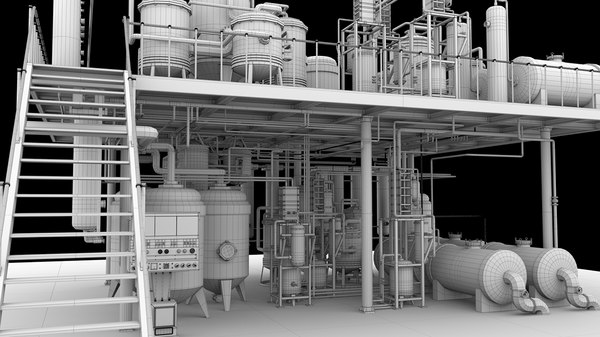 3d factory mixed pipe unit model