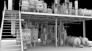 3d factory mixed pipe unit model
