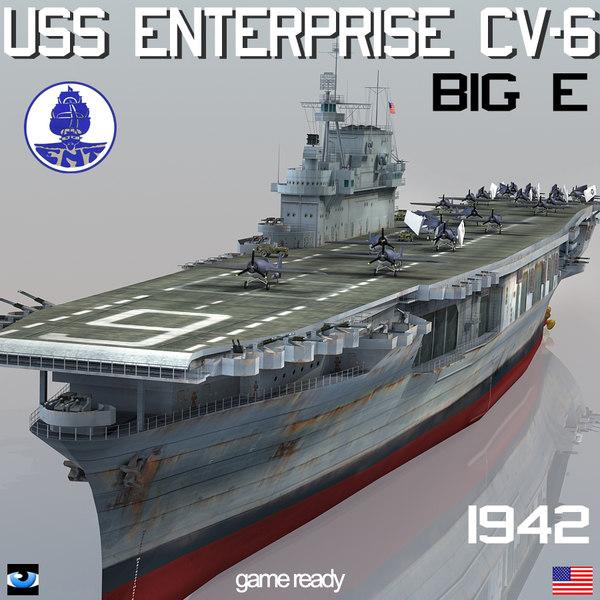 3ds uss enterprise cv-6 big