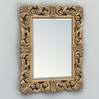 3d model carved rectangle mirror frame