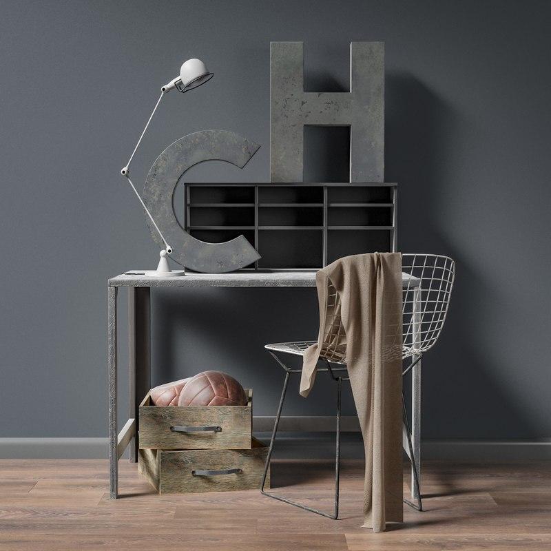 3d model loft industrial interiors