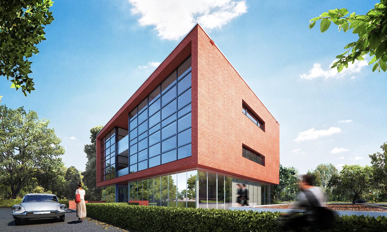 high-detail office brick building 3d 3ds