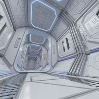 sci-fi interior scene max