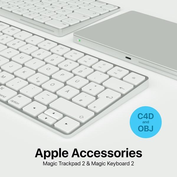 3d model apple magic keyboard 2